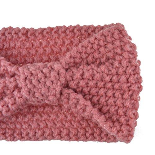 DRESHOW Damen Schleife Design Stirnband Winter Kopfband Haarband Stirnband Häkelarbeit - 2