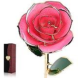 Cozime Rosa Bañada en Oro, Rosa 24 K Chapado Ideal Como Regalo de San Valentín Día/ La Madre/ Navidad/ Cumpleaños/ Boda, Amante Rosa