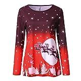 VEMOW Heißer Elegante Damen Plus Size Oberteile Winter Festliche Wasserfall Weihnachten Unregelmäßige Lässige Tägliche Party Lose Hem Bluse Top(Y1-Rot, EU-42/CN-M)