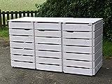 3er Mülltonnenbox / Mülltonnenverkleidung 120 L Holz, Transparent Geölt Weiß
