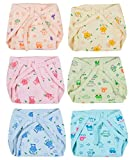 Kuchipoo Premium Quality Padded Baby Nappies Assorted Colours - Pack of 6 (KUC-RNAP-102, Multicolor, 6-12 Months)
