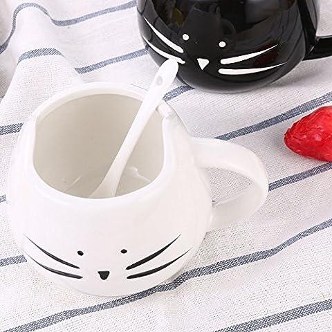 LanLan Cat Coffee Mugs Lovers Cups, Black & White Ceramic