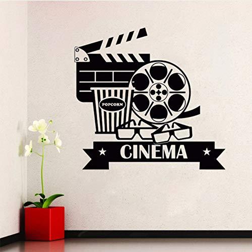 Hwhz 42X40 Cm Kino Wandaufkleber Abnehmbare Vinyl Movie House Wandtattoo Popcorn Kinematographie Dekoration Kino Destign Wall ()