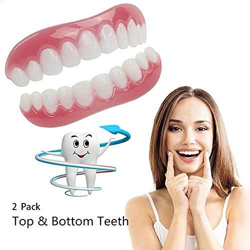 GLEYDY 2pcs Temporäres Lächeln Comfort Fit Kosmetikzähne Prothese Furniere Zähne Comfort Fit Flex-Kosmetikzähne Top Zahnfurnier -
