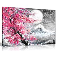 Pink Black & White Oil Painting Japanese Cherry Blossom Landscape Canvas Wall Art Picture Print (36x24)