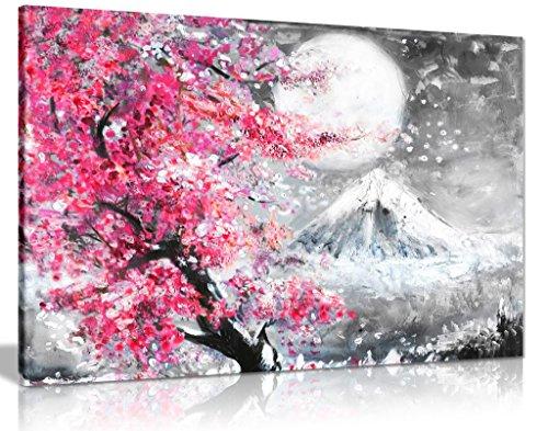 Lienzo decorativo para pared, diseño de cerezo japonés, color rosa y negro, negro, A0 91x61cm (36x24in)