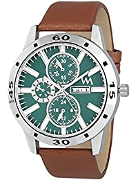 Watch Me Day And Date Analog Green Dial Brown Leather Strap Quartz Watch For Men And Boys AWC-025