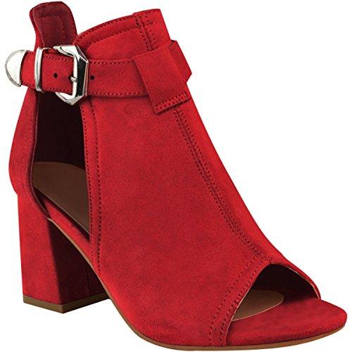 I Rosso Donna Larghi Camoscio Sete Finto E Punta Mezza Aperta Sandali Tacchi Di Modo Di UqwnZU6r