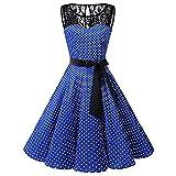 iYmitz Frauen ärmellose Prinzessin Polka Punkt Spitze Hepburn Damen Retro Swing hohe FaltenrockTaille Plissee Kleid Strickkleid(Blau,EU-48/CN-4XL)