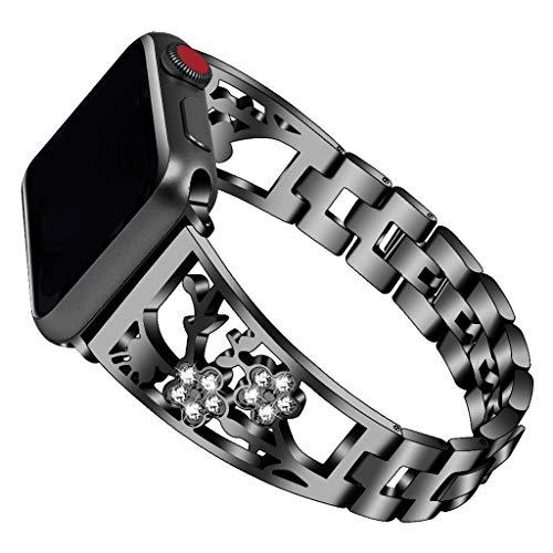 WAOTIER für Apple Watch 40mm Armband Leder Ersatzarmband Spleißen Zweifarbiger Armband für Apple Watch Series 4 mit Edelstahl Verschluss Kompatibel iWatch 40mm für Frauen Männer (Schwarz)