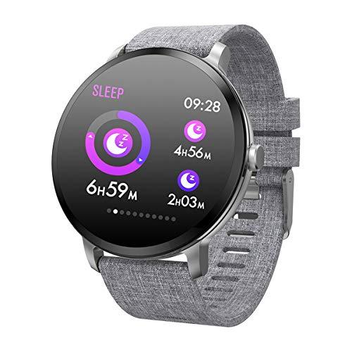 ZNMJW Intelligente Uhr,Farbdisplay aus gehärtetem Glas kann den Blutdruck überwachen, Sauerstoff-Herzfrequenz, kann Informationen drücken, Anruf SMS-Erinnerung unterstützen, Multi-Sport-Modus-Silver