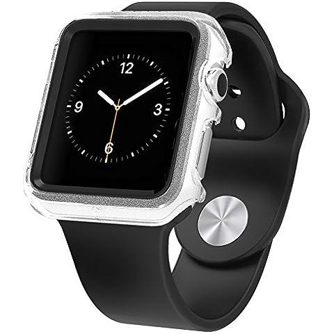 Apple Watch Caso Protector de Alta Calidad, Poetic [Duo Lite] Apple Watch 38mm Caso última Shock Protection En Un Diseño Delgado Mínima **NUEVO** [Duo] [Claro/Negro] - [Incluye 2 Protectores de Pantalla] Protección Elegante Ultra de Caídas y de Impacto Con Un Diseño de alta calidad y de doble capa sobre moldeado protección de la PC/TPU choque y colores a juego para Apple Watch 38mm (2015) - Claro/Negro (Fabricante 3 Años de Garantía de Poetic)