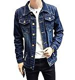 JOTHIN LeichteJeansjacke Herren Denim Mantel Freizeit Jacket Stylisch Slim OutwearJugendliche Übergangsjacke Löcher (M, Blau-4)