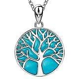 Apotie Sterling 925Silber Charms Tree of Life Glow Glück Anhänger Halsketten Geschenke Schmuck Lange Kette für Frauen
