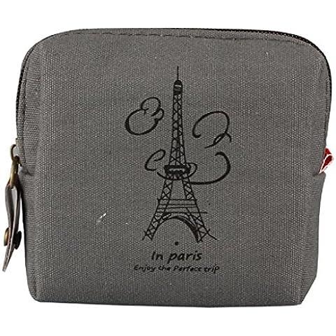 Sannysis® Mini Retro bolsa con monedas; Tarjeta Monedero del bolso de la caja; Regalo Torre Eiffel monedero (Gris)