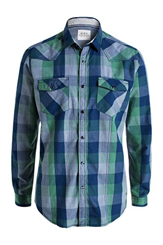 edc by Esprit 125cc2f006-Check, Chemise Homme Vert (GREEN 310)