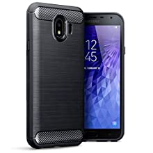 TERRAPIN, Compatible with Samsung J4 2018 Case, Carbon Fibre Design Brushed Effect TPU Gel Cover - Black