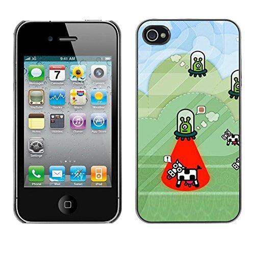 Preisvergleich Produktbild For Apple iPhone 4 / iPhone 4S / 4S,S-type® Cow Abduction Funny Cartoon Conspiracy - Kunst & Design Hartplastik Handy-Schutzhülle Schale Hülle Case Cover