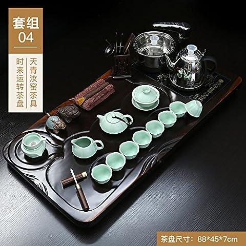 Kitoku automatique à thé en bois foncé Thé ROM Définit, 04