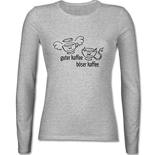 Küche - Guten Kaffee Böser Kaffee - tailliertes Longsleeve / langärmeliges T-Shirt für Damen Grau Meliert