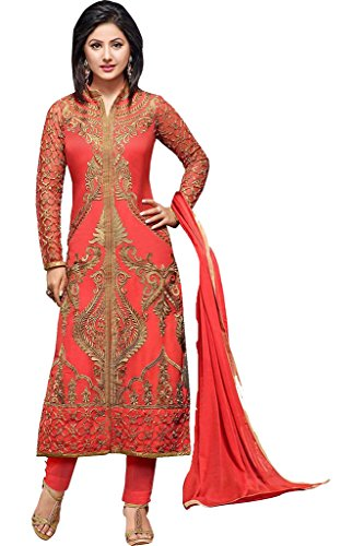 Arawins Womens Clothing Bollywood Designer Latest New Collection Party Wear Sale Offer in Pink Georgette and Net Salwar Suit Semi Stitched Free Size