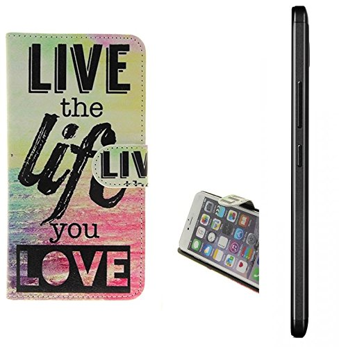 K-S-Trade Für Medion X5520 360° Wallet Case Schutz Hülle ''live The Life You Love'' Schutzhülle Handy Hülle Handyhülle Handy Tasche Etui Smartphone Flip Cover Flipstyle für Medion X5520