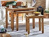SAM Dreisatztisch Santa Fe, Kiefernholz, Mexico-Möbel, Couchtisch 3er-Kombination, Beistelltisch mit gewachster Oberfläche