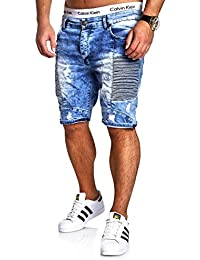 MT Styles Biker Jeans-Bermuda Short pantalon RJ-2285