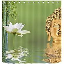 LB Tejido de poliéster Impresión 3D impermeable a prueba de moho Cortinas de baño Buddah Buddhism Budista spa yoga zen O Cortinas Para la decoración del cuarto de baño Con 12 ganchos