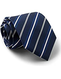 Savile Row Men's Navy Royal White Textured Stripe Silk Tie