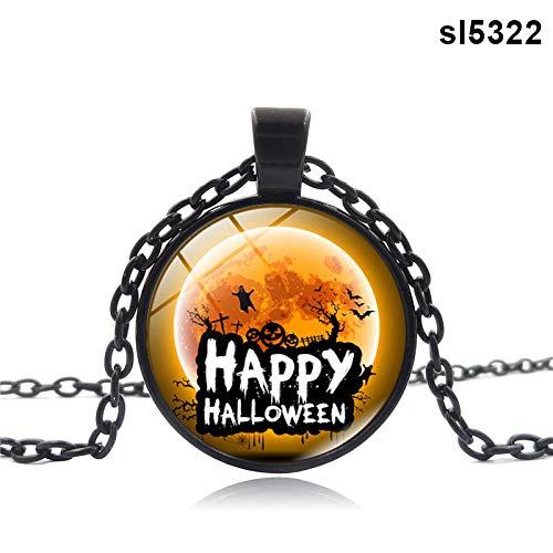 (Symbol Halskette Anhänger Glasschmuck Halloween Dekoration Rund Geschenk für Frauen Männer)
