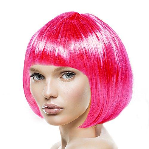 Sexy Kostüm Pony Pink - Bob Perücke für Damen, Herren & Kinder Cabaret 14 Farben (Pink)