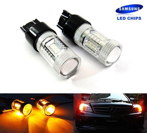Preisvergleich Produktbild 2x Luffy Bernstein 1803157P27/7W 1823156P27W Glühlampe Samsung LED Standlicht Seitenblinker Schwanz Bremslicht,