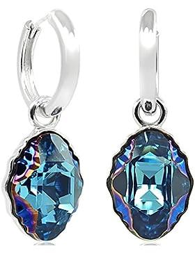 Creolen 925 Sterling Silber - Kristalle von Swarovski® - Verschiedene Farben - NOBEL SCHMUCK