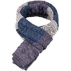 Bufanda de Hombre la tela escocesa cozy Lana Abrigo Del Mantón cuello bufanda Regalos para Hombre unisexo (Azul)