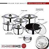 12pc Cookware Set, Deluxe Quality Stainless Steel, Casserole, Stock Pot, Saucepan, Fry Pan with Marble Coating | Induction Safe | Oven Safe | Dishwasher Safe - 5 Layer Capsule Bottom