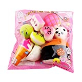 ALIKEEY Soft CM© toys Squishy 10pcs Medium Mini Soft Squishy Bread CM© toy Key for Kids Christmas CM© toys for Girls(Mutilcolored #1)