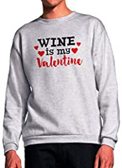 Idea Regalo - BlackMeow Wine Is My Valentine Grey Unisex Sweatshirt - Medium