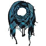 Superfreak Palituch - Sterne schwarz - türkis - 100x100 cm - Pali Palästinenser Arafat Tuch - 100% Baumwolle
