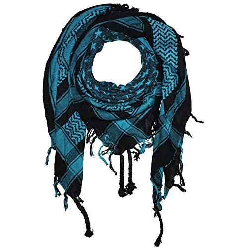 (Superfreak Palituch - Sterne schwarz - türkis - 100x100 cm - Pali Palästinenser Arafat Tuch - 100% Baumwolle)