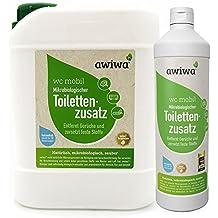 awiwa WC Mobile Bio toilettes liquide sanitaire pour camping-car caravane, caravane, bateau supplémentaires. Certifié supplémentaire pour le camping pour chimie et laser toilettes et réservoir eaux usées. (biodégradable, 1L = 20doses)