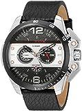 Diesel Men's 55mm Black Leather Band Steel Case Quartz Multicolor Dial Analog Watch dz4361