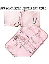 Personalizable, grande y elegante rollo de joyas anillo de soporte para pendientes collares colgantes pulsera organizador funda de viaje