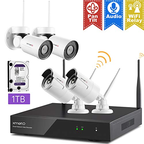 XMARTO Wireless Überwachungskamera Set 8Ch 1080p NVR mit Pan Tilt Schwenken Neigen Überwachhungskamera Außen Bewegungsmelder Wetterfest - Schwenken