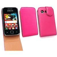 Samsung S5360 Emartbuy Galaxy Y De Lujo Pu Leather Flip Case / Portada / Bolsa Fucsia / Tan Y Protector De Pantalla Lcd
