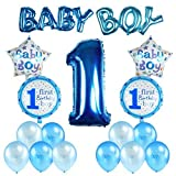 Kesoto Conjunto de Globos de Cumpleaños para Niños Globos para el Primer Cumpleaños Decoraciones de Cumpleaños Recién Nacido 7 Globos de Papel + 10 Globos de Látex, Azul
