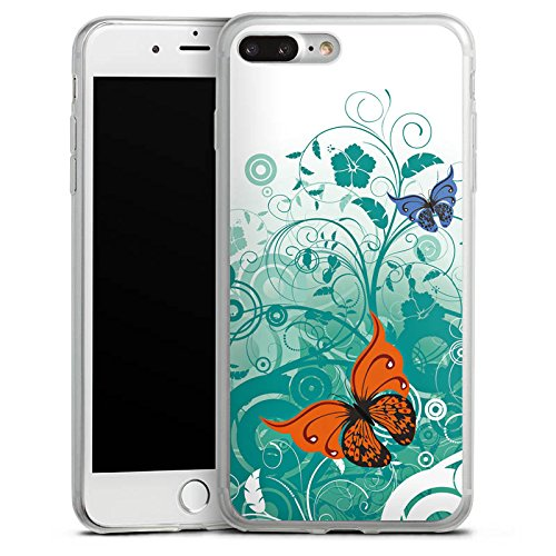 Apple iPhone 8 Plus Slim Case Silikon Hülle Schutzhülle Schmetterling Blume Ornament Silikon Slim Case transparent
