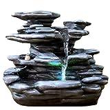 Zimmerbrunnen Innenbrunnen Feng Shui Relax Stone LED Farb Beleuchtung 29 cm