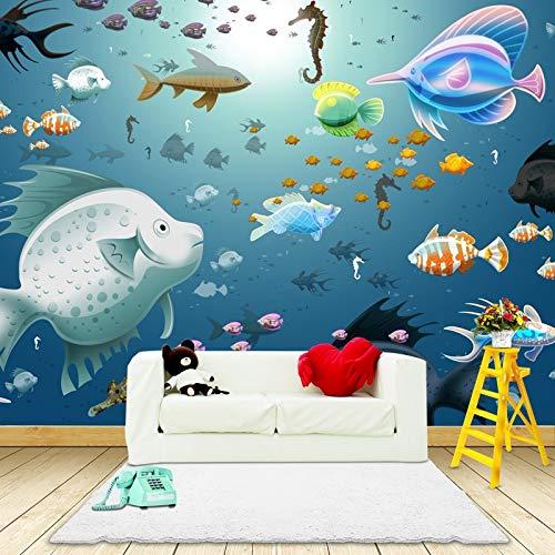 Hnsd Foto wallpaper 3D vista mare muro dipinto camera dei bambini camera da letto acquario scuola materna decorazione oceano pesce carta da parati murale 200x140CM