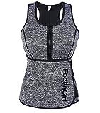 FeelinGirl Damen Neoprene Sport Weste Korsett Sauna Abnehmen Corsage mit Reißverschluss und Verstellbare Waist Trainer Body Shaper Taillenformer Fitness S